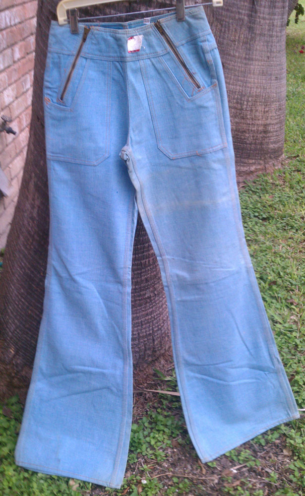 red snap double zipper huge 70s bell bottom jeans