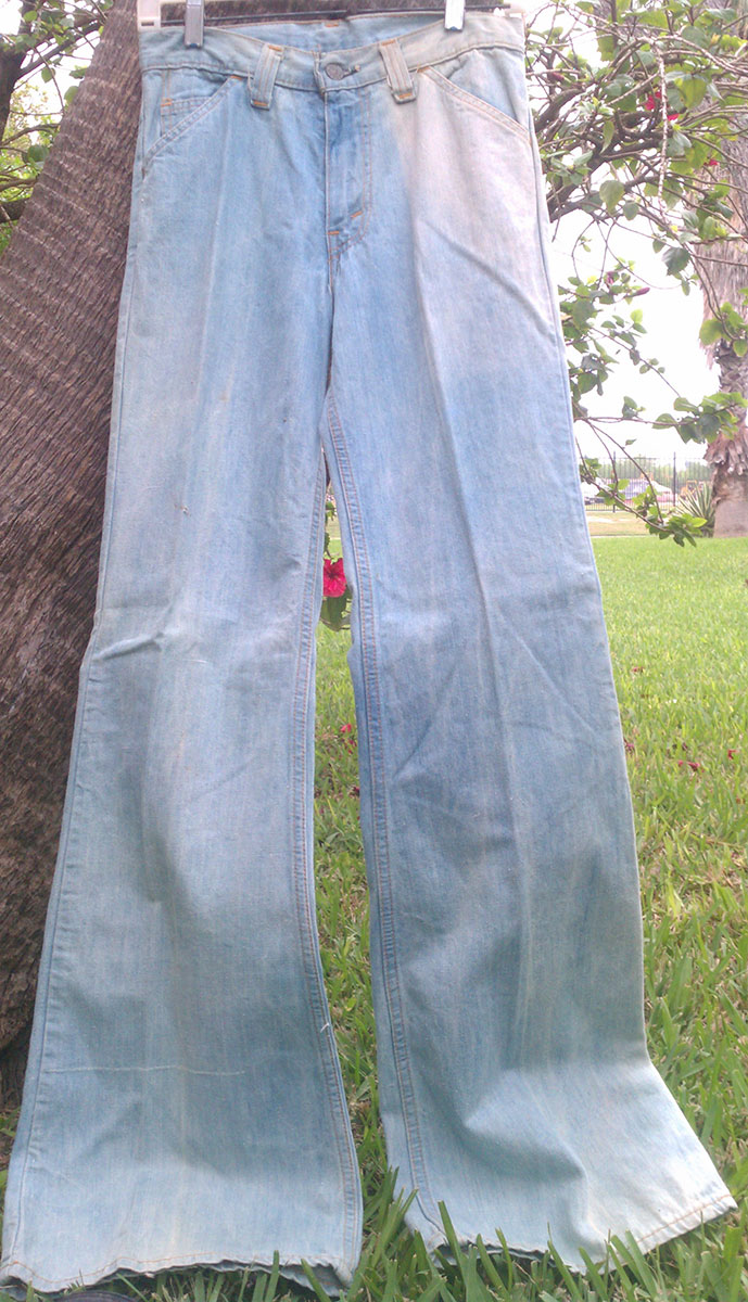 Levis Sky Blue 70s Big Vintage Denim Bell Bottom Jeans