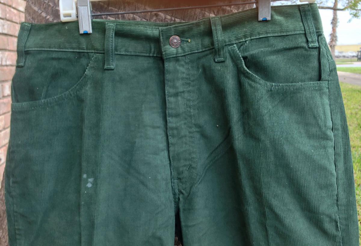 Levis Green 70s Vintage Corduroy Boot Cut Pants