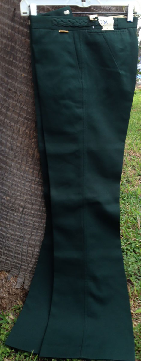 Outlooks Green Polyester 70s Vintage Bell Bottom Pants