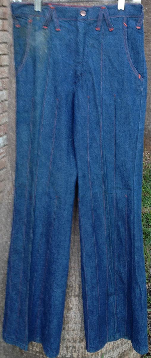 Wrangler 7500 70s Denim Big Bell Bottom Blue Cross Belt
