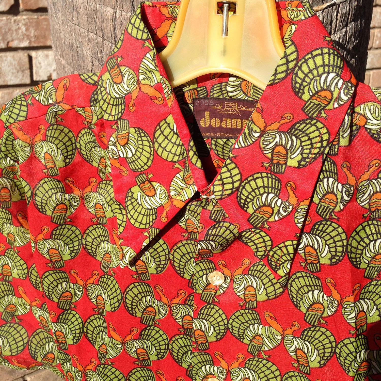 Joanni Retro 70s Red Turkey Pattern 100 Polyester Vintage