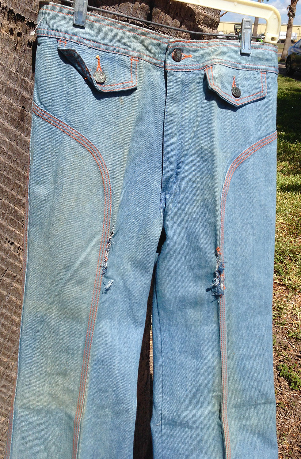 bb785a784e5 Faded Glory Pre-Washed Panel 70s Vintage Bell Bottom Denim Jeans