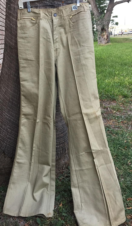 Male Khaki 70s Vintage BIG Bell Bottom Jeans