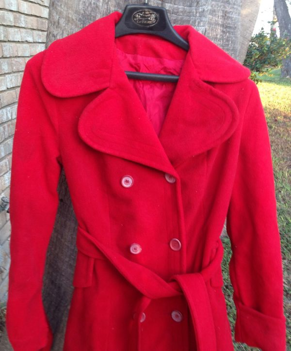 Red Lady's 70s Vintage Cotton / Polyester Women's Coat
