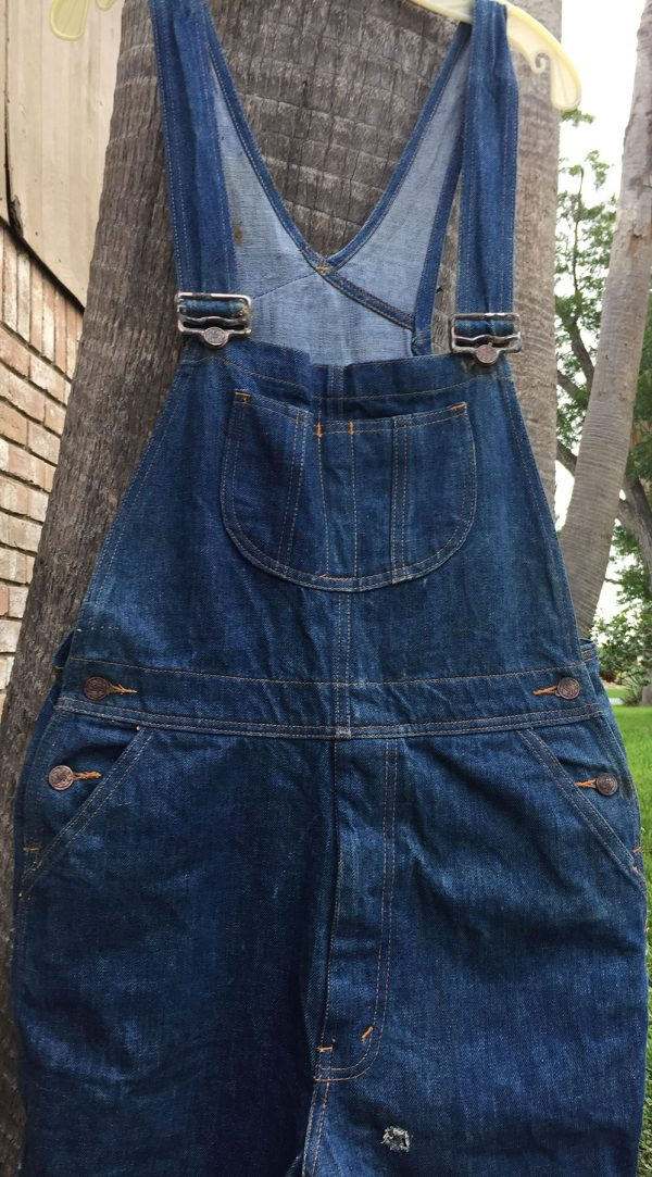 100% Blue Cotton Denim Overalls from the 1970s