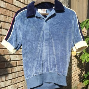 Kennington Velour Blue Short Sleeve Shirt - Medium