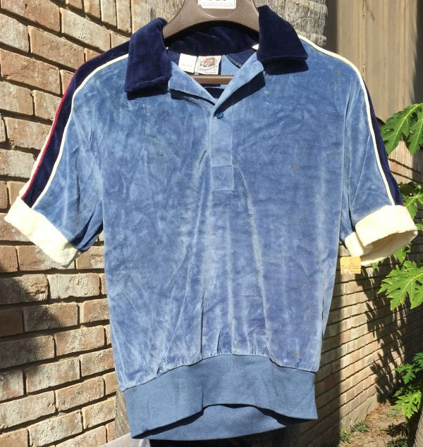 Kennington Velour Blue Short Sleeve Shirt - Medium