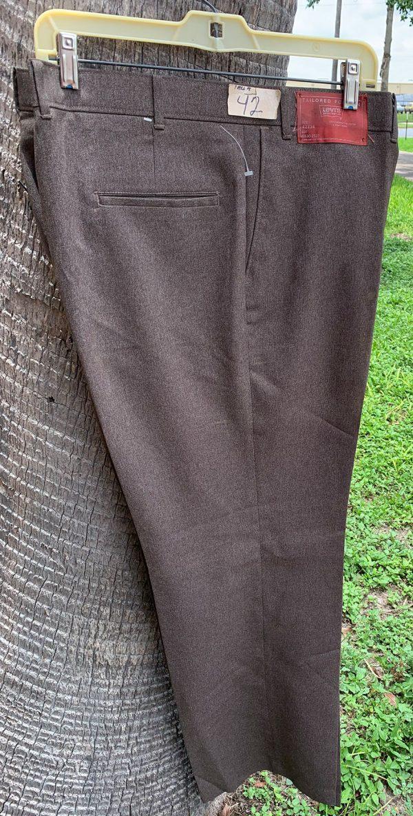 Levis 548 Brown Flare Polyester Action Slacks Pants 42X34 22B